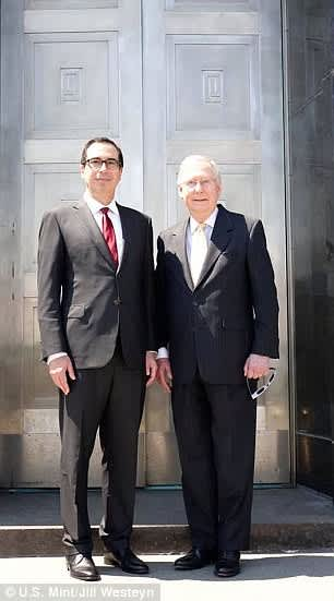 US Mint Fort Knox photo Steve Mnuchin and Mitch McConnell