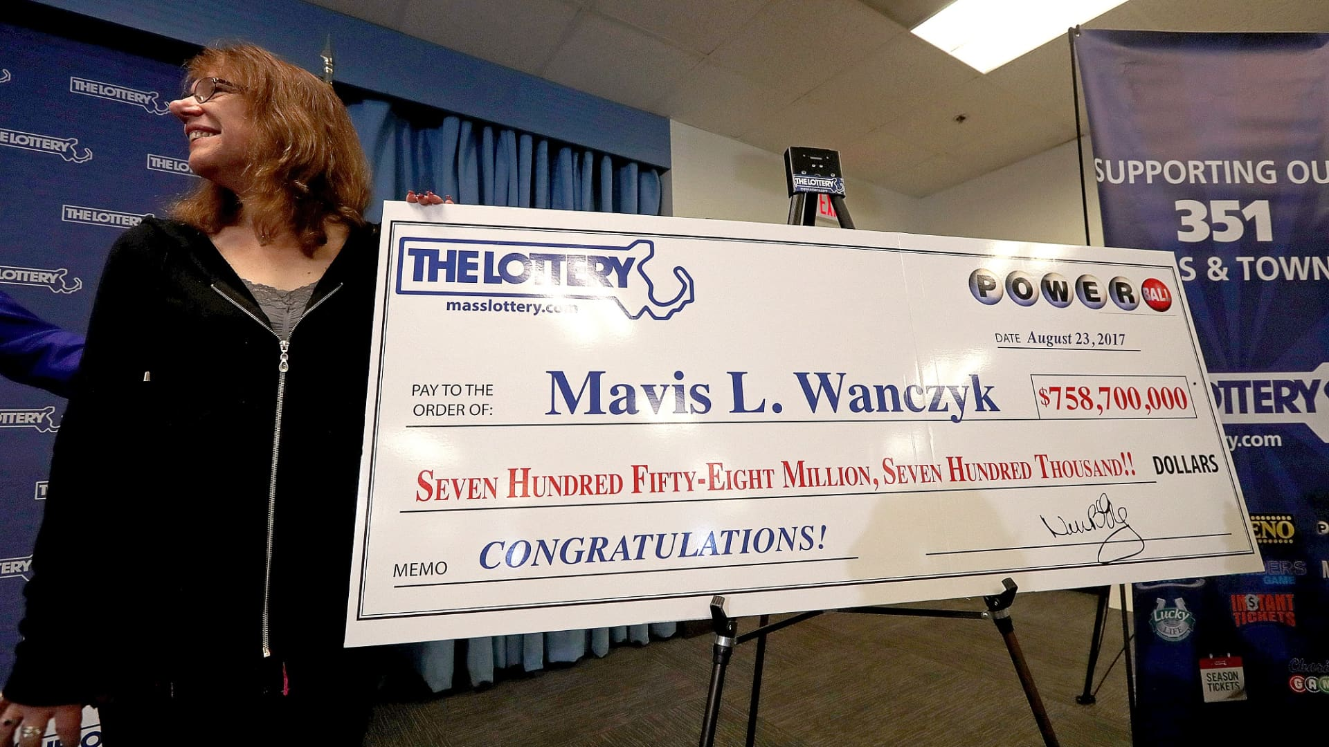 Mavis L. Wanczyk was announced as the winner of the $758.7 Million Powerball Jackpot in August of 2017.