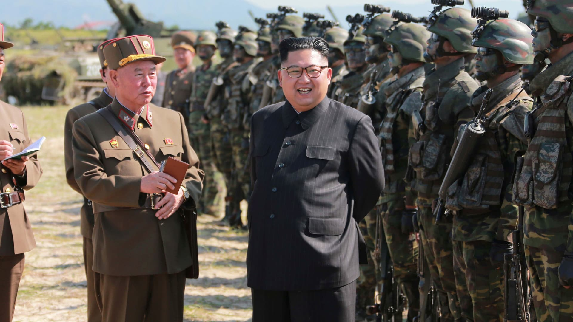 North Korean leader Kim Jong-un guides a target-striking contest of the special operation forces of the Korean People's Army to occupy islands in Pyongyang on Aug. 25, 2017.
