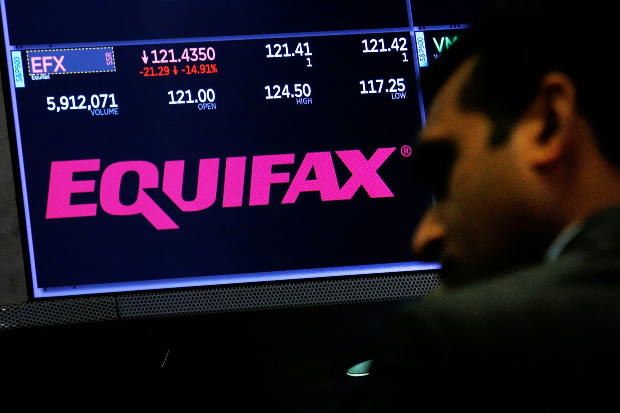 Equifax trading information and the company logo are displayed on a screen where the stock is traded on the floor of the New York Stock Exchange in New York.