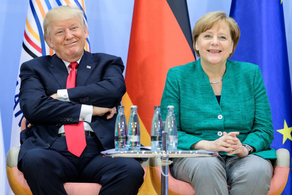 U.S. President Donald Trump and German Chancellor Angela Merkel