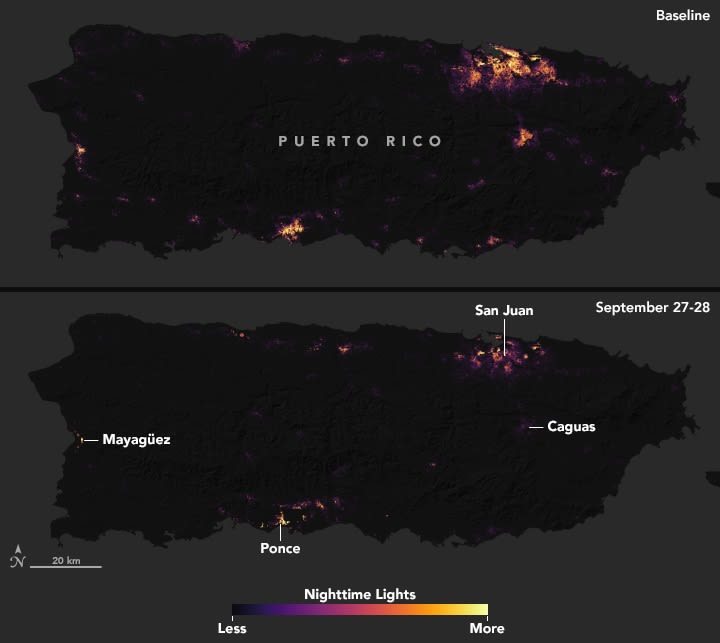 NASA images of Puerto Rico full country before and after Maria