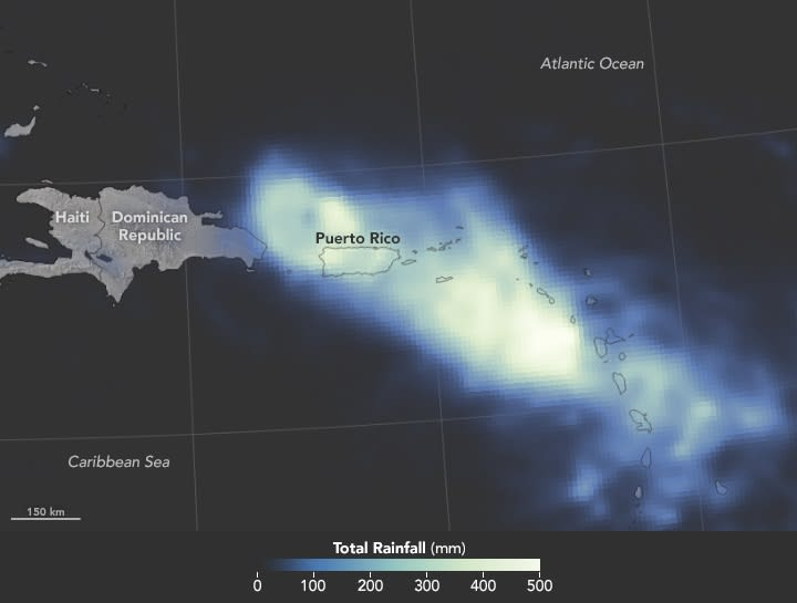 NASA image of rain over Puerto Rico during Hurricane Maria