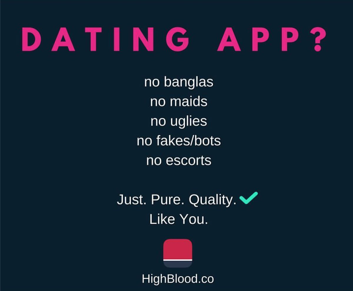 Dating app HighBlood with racist ad and income filter on