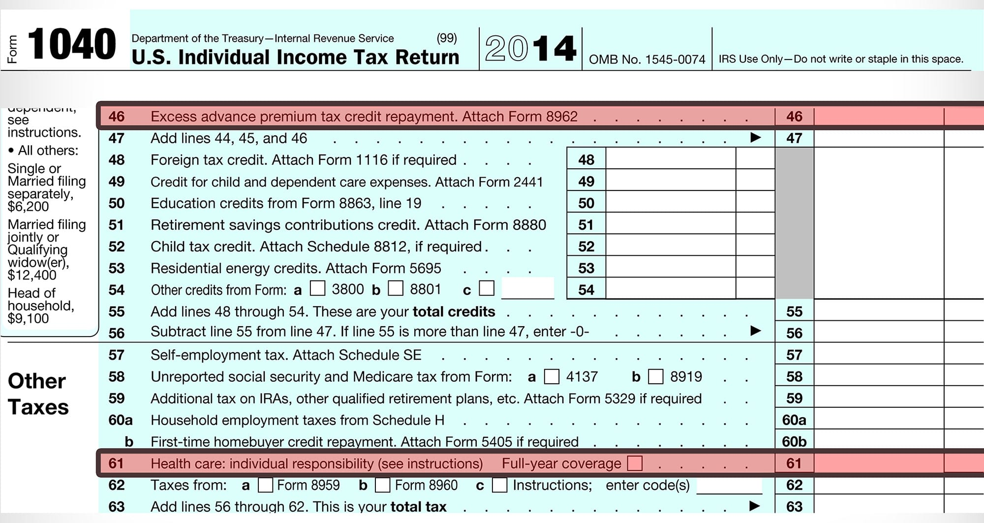 IRS 1040 Tax form Obamacare mandate