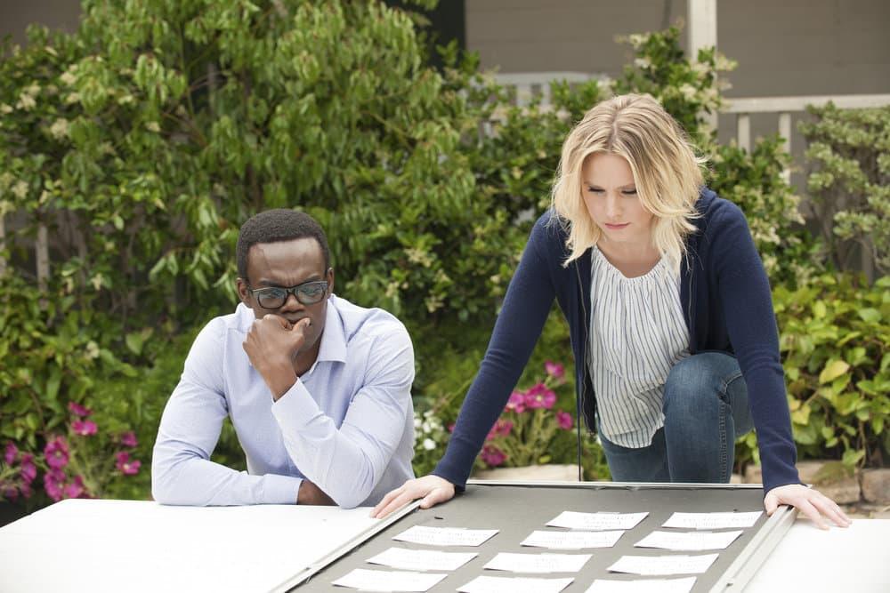 "THE GOOD PLACE -- ""Dance Dance Resolution"" Episode 203 -- Pictured: (l-r) William Jackson Harper as Chidi, Kristen Bell as Eleanor Shellstrop"