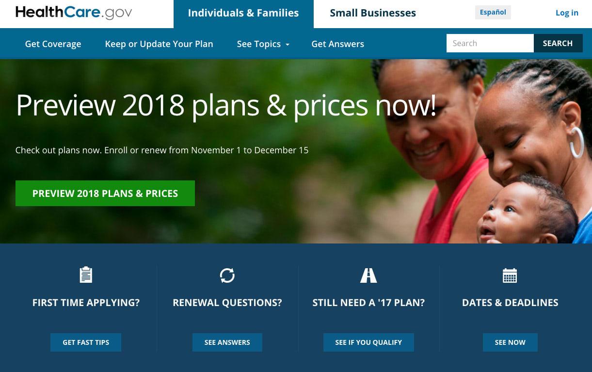 Healthcare.gov website 2018 Enrollment