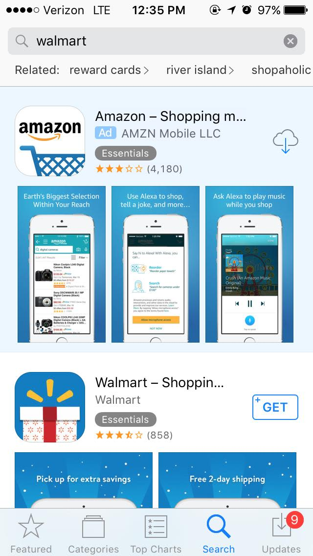 Handout Amazon advertising on Walmart 171103