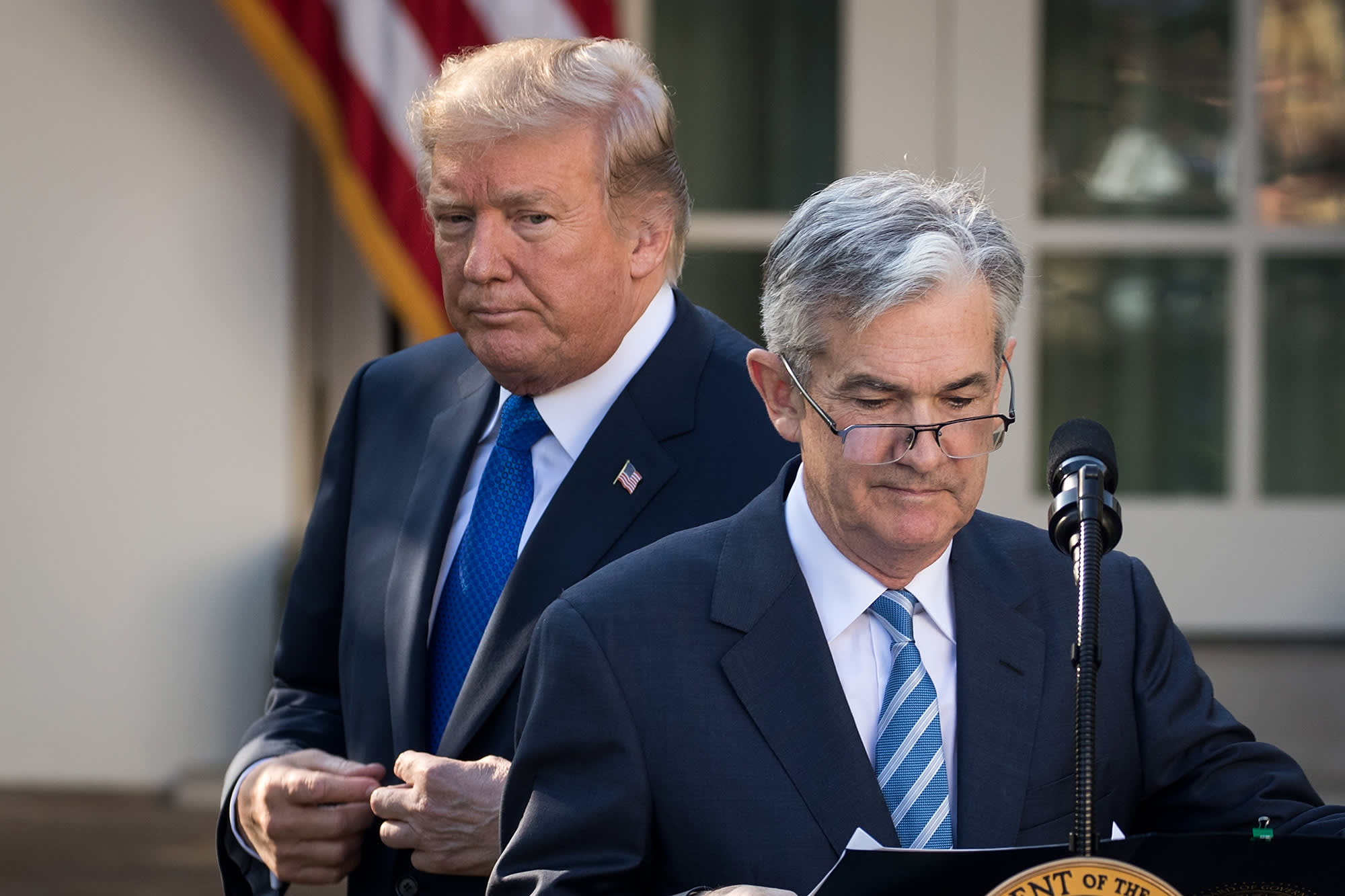 President Donald Trump looks on as his nominee for the chairman of the Federal Reserve Jerome Powell takes to the podium during a press event in the Rose Garden at the White House, November 2, 2017 in Washington, DC.