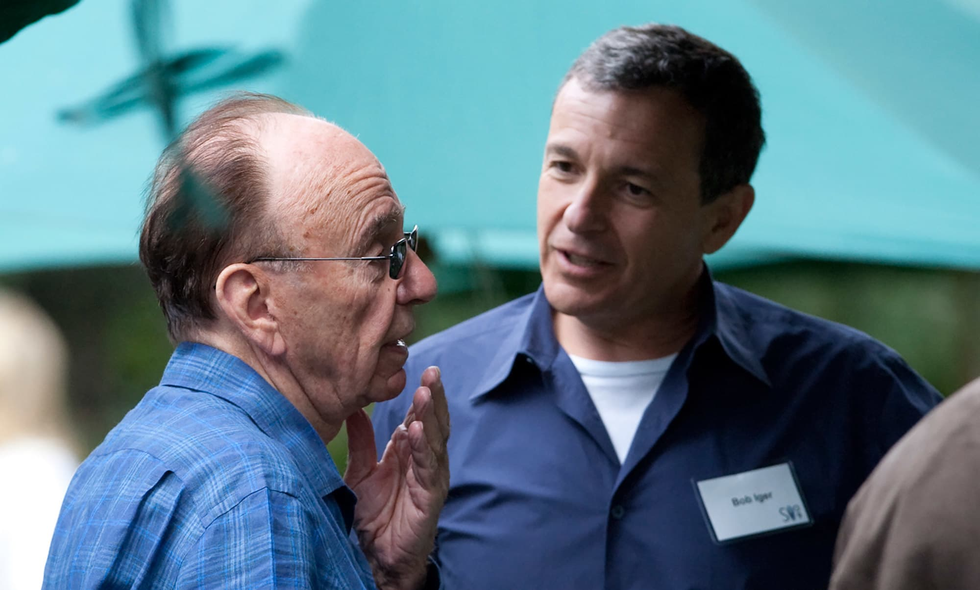 Rupert Murdoch, left, and Disney's Robert Iger at the annual Allen & Co.'s media summit in Sun Valley, Idaho.