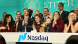 Katrina Lake, CEO of Stitch Fix and others, celebrate their IPO at the Nasdaq, November 17, 2017.
