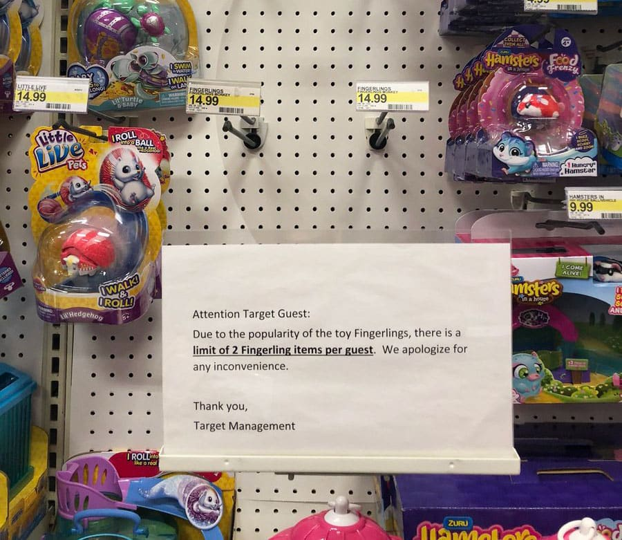 ONE TIME USE: Fingerlings at Target