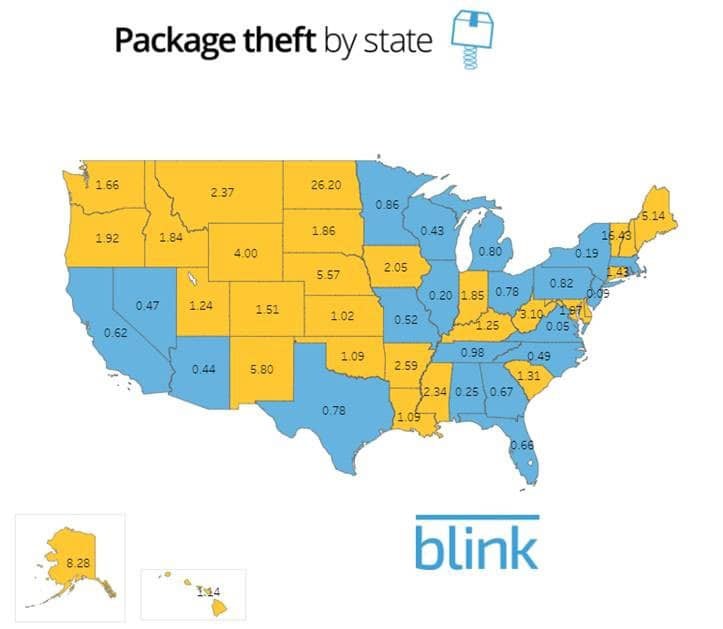 Package theft by state