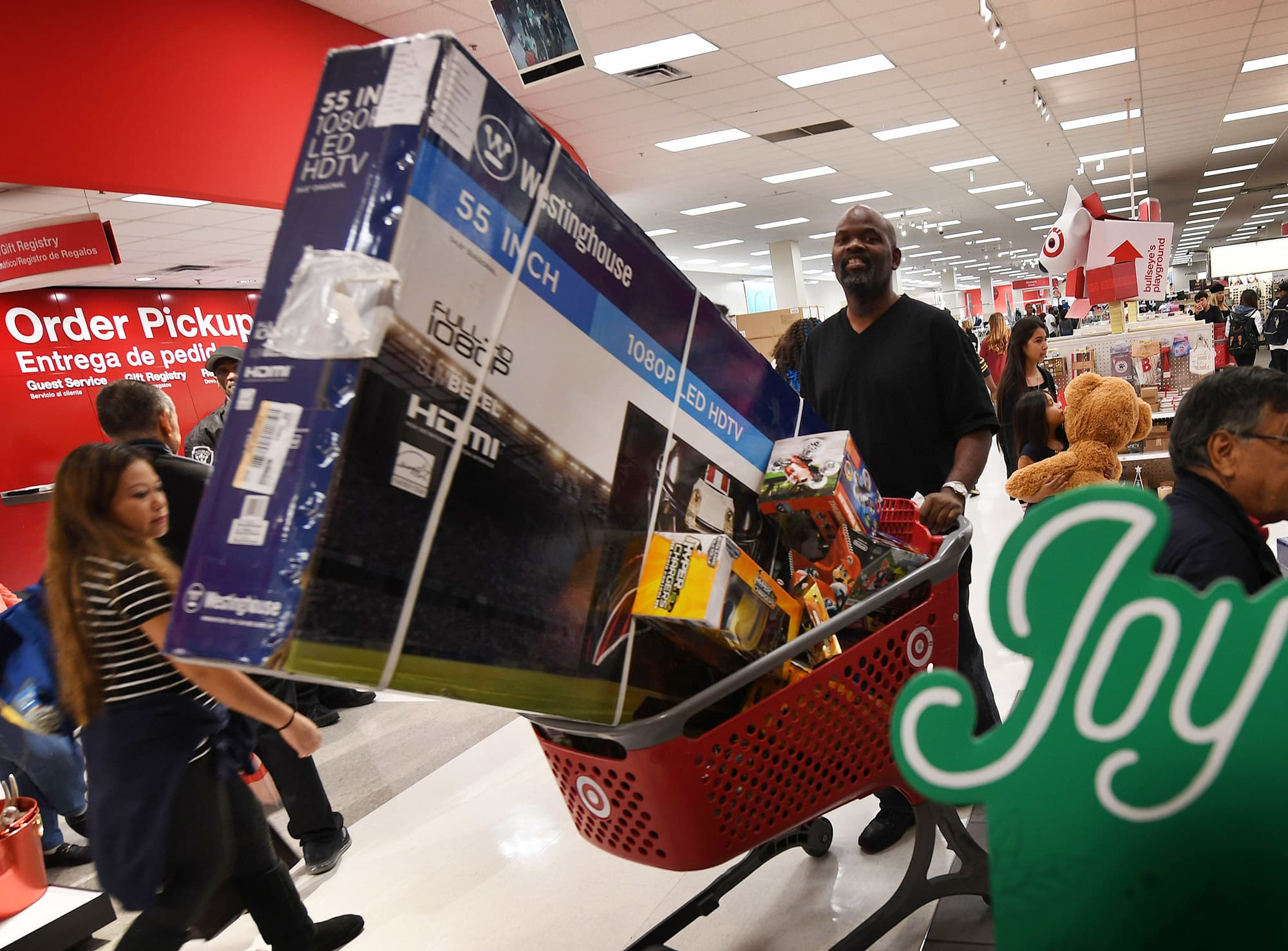 Shoppers push loaded up carts at a Target store in Culver City, California.