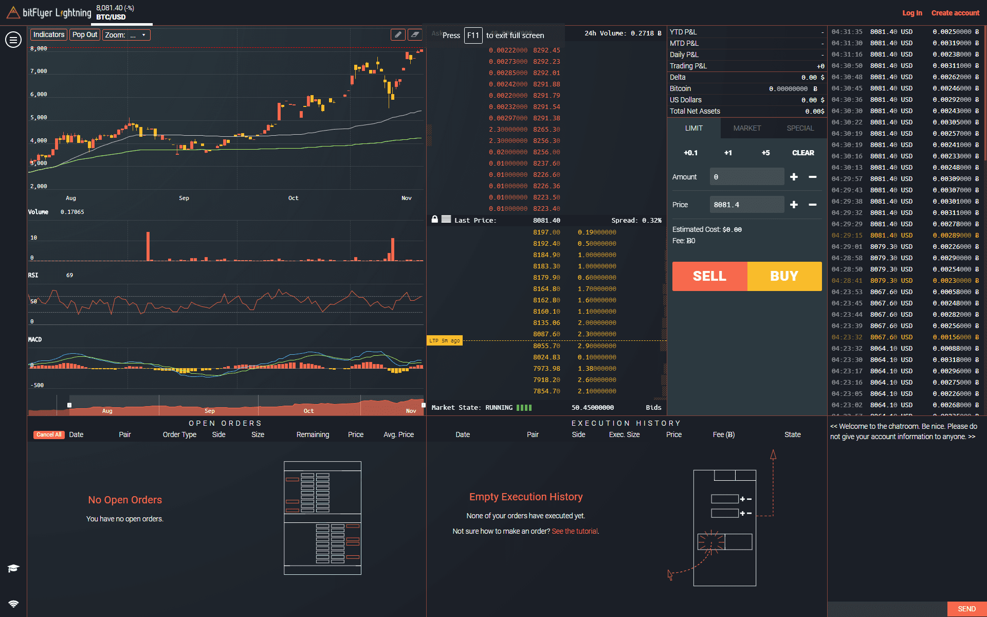 BitFlyerLightning screen