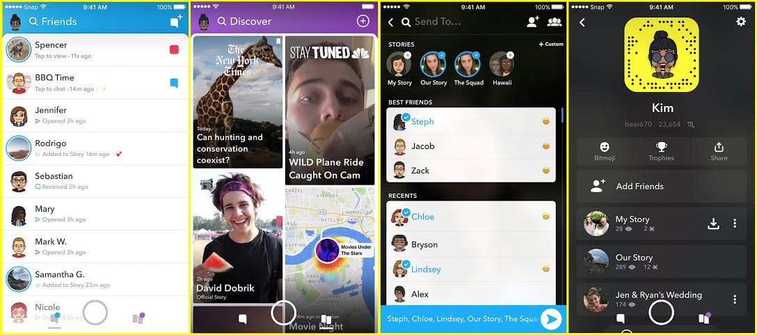 Handout: SnapChat redesign all screens