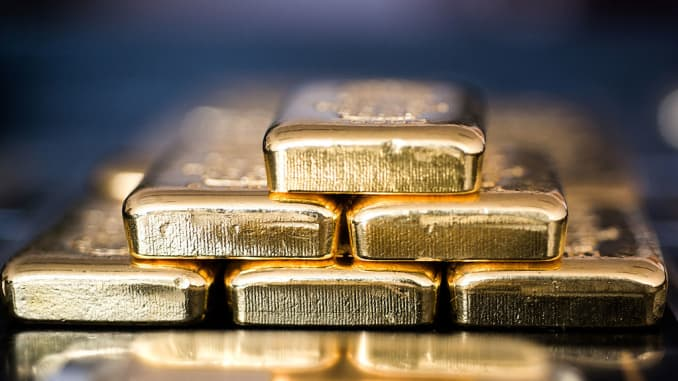 Stacked gold bars at Solar Capital Gold Zrt. in Budapest, Hungary.