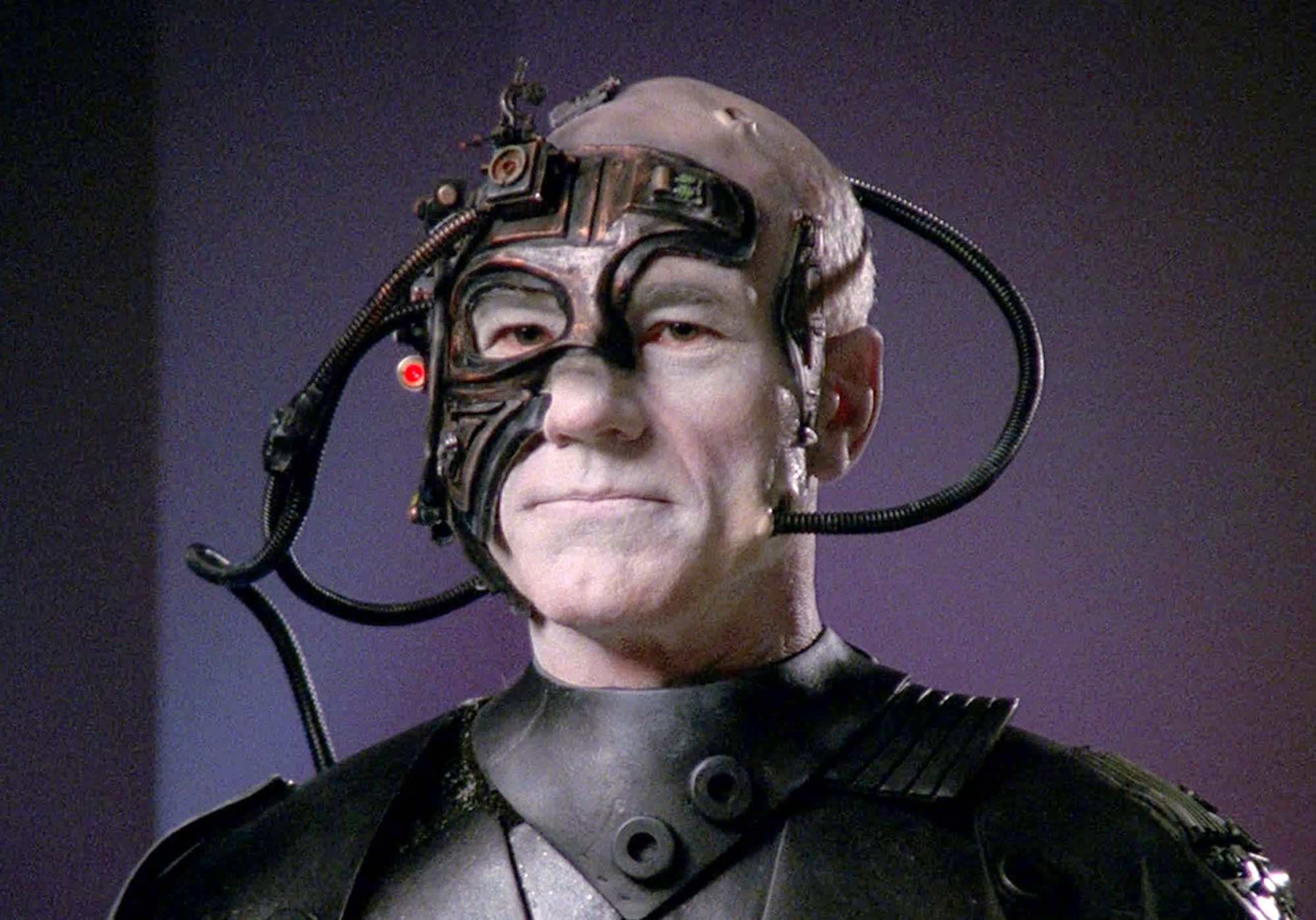 Patrick Stewart as Captain Jean-Luc Picard, partially transformed into Locutus of Borg in episode 'The Best of Both Worlds: Part II.' Originally broadcast on September 23, 1990.