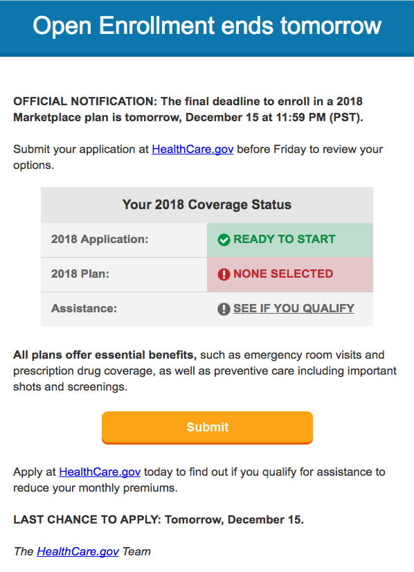 Obamacare open enrollment closes deadline 171214