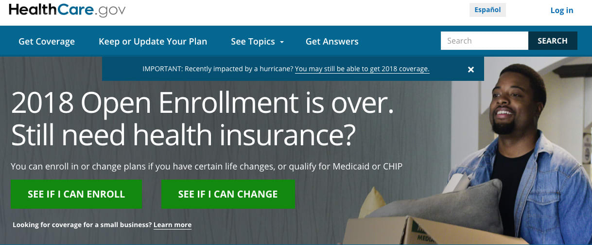 Healthcare.gov Enrollment closed website homepage 171220