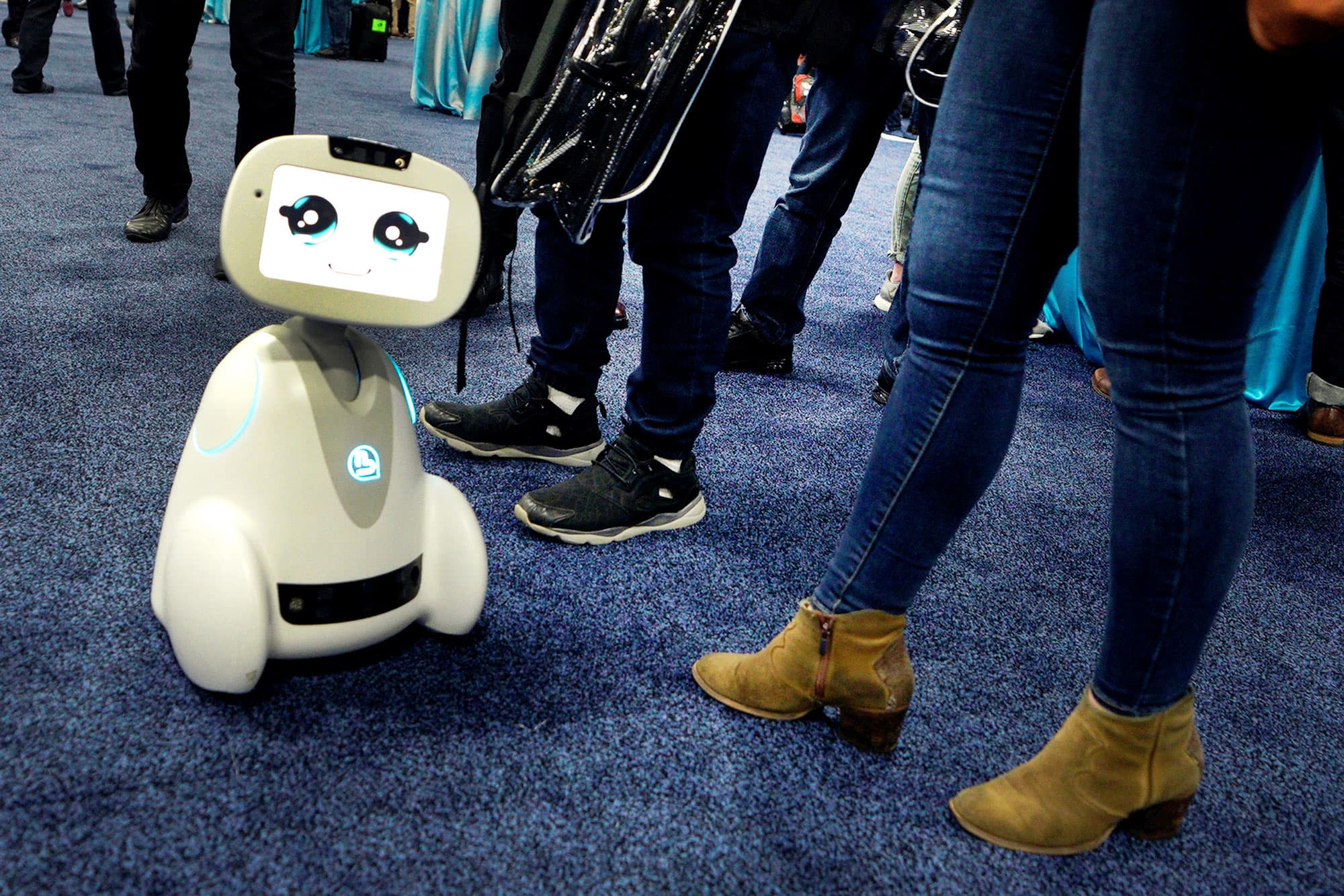 Buddy robot by Blue Frog roams the floor during the opening event at CES in Las Vegas, January 7, 2018.