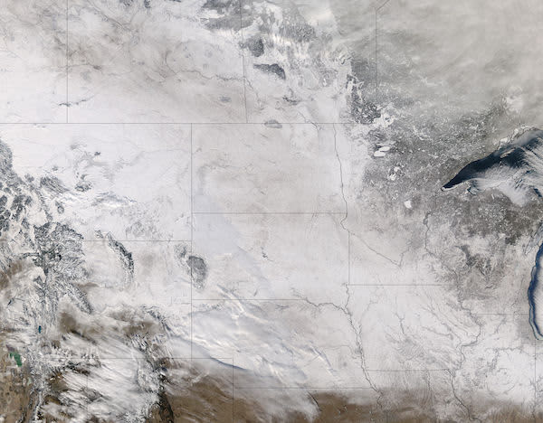 NASA snow across the northern plains