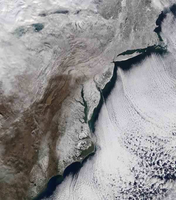NASA show and ice on eastern seaboard