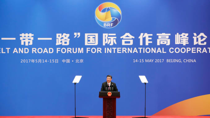 Chinese President Xi Jinping attends a conference at the Belt and Road Forum for International Cooperation on May 15, 2017.