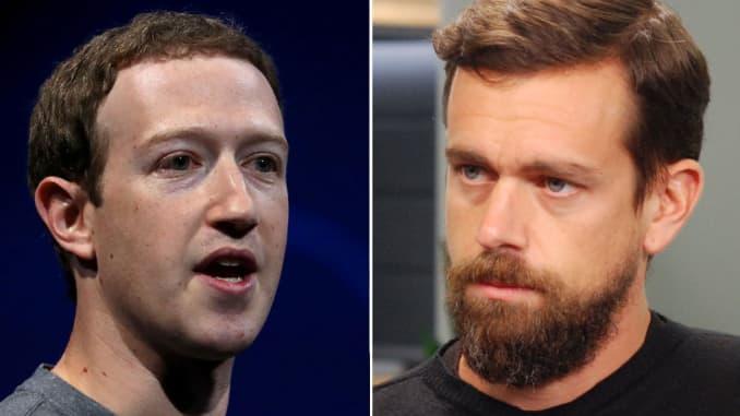 Người sáng lập kiêm Giám đốc điều hành Facebook Mark Zuckerberg và đồng sáng lập kiêm Giám đốc điều hành Square Jack Dorsey.