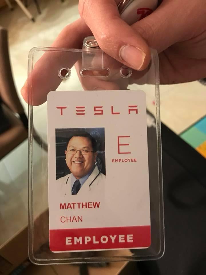 HANDOUT Matthew Chan Tesla employee badge
