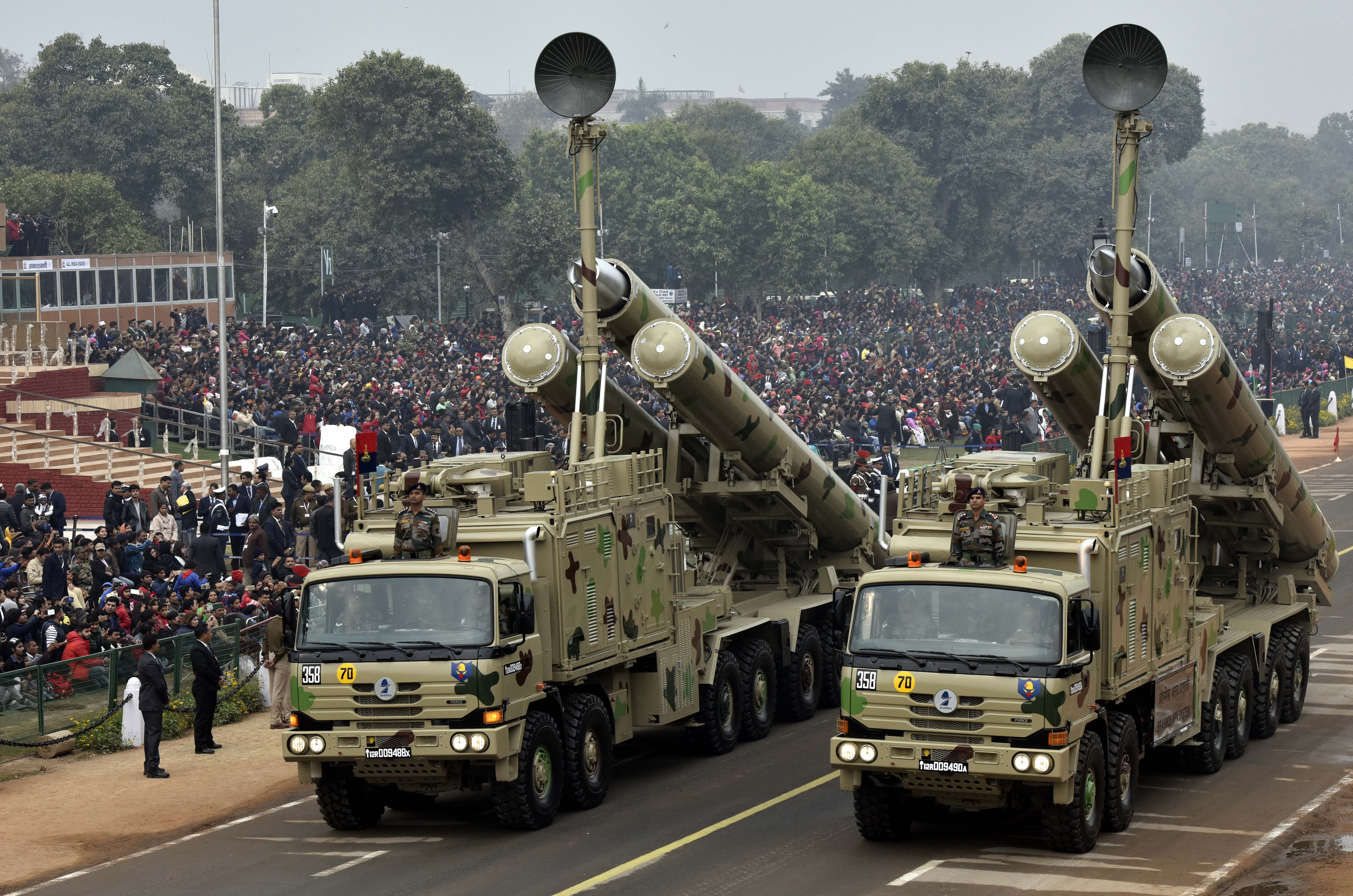 The BrahMos weapon system in full display during a rehearsal for India's Republic Day Parade on January 23, 2018 in New Delhi.