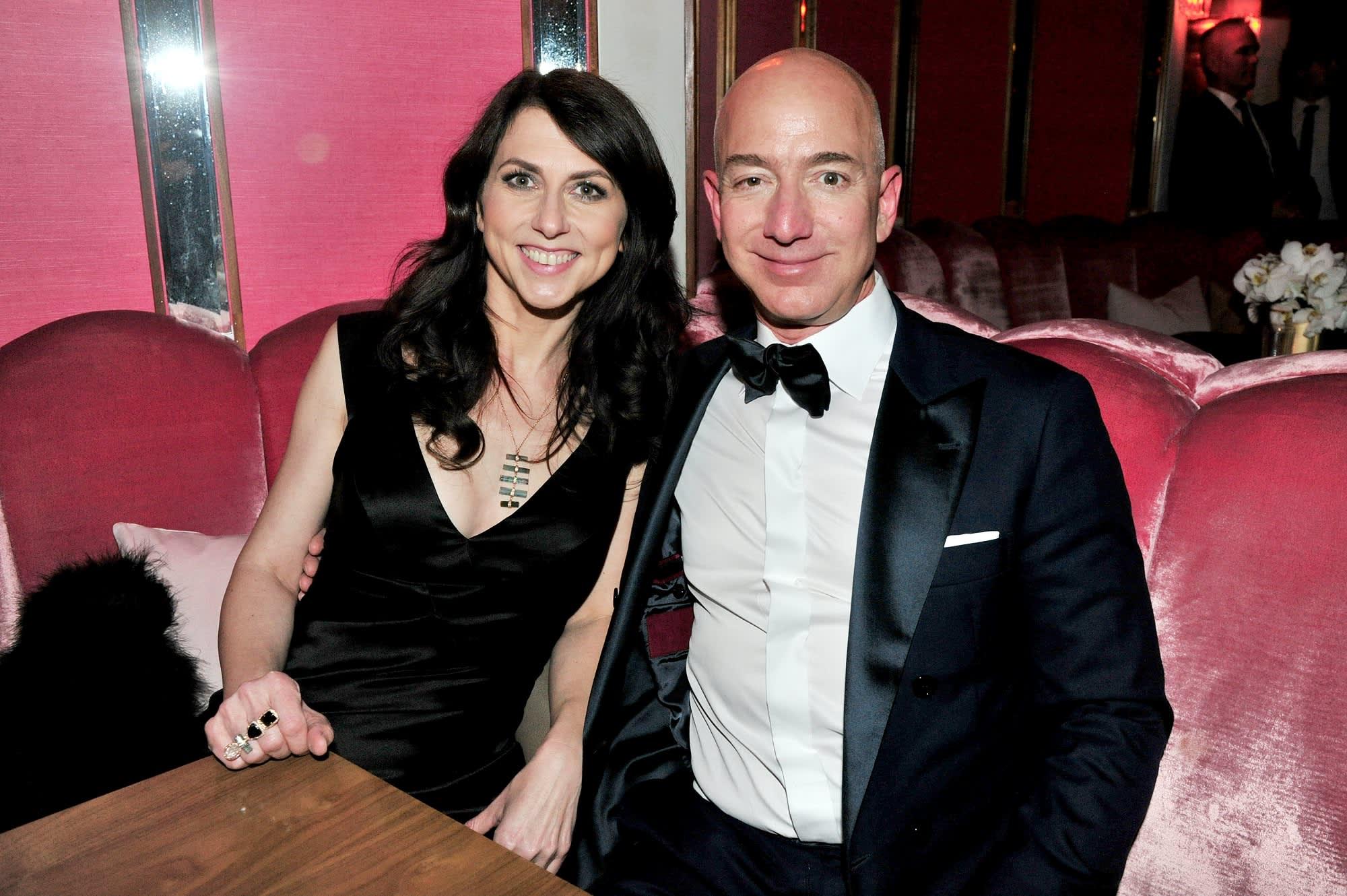 CEO of Amazon Jeff Bezos and writer MacKenzie Bezos attend the Amazon Studios Oscar Celebration at Delilah on February 26, 2017 in West Hollywood, California.