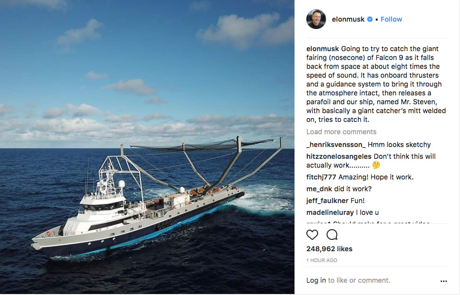 ONE TIME USE: Elon Musk instagram post