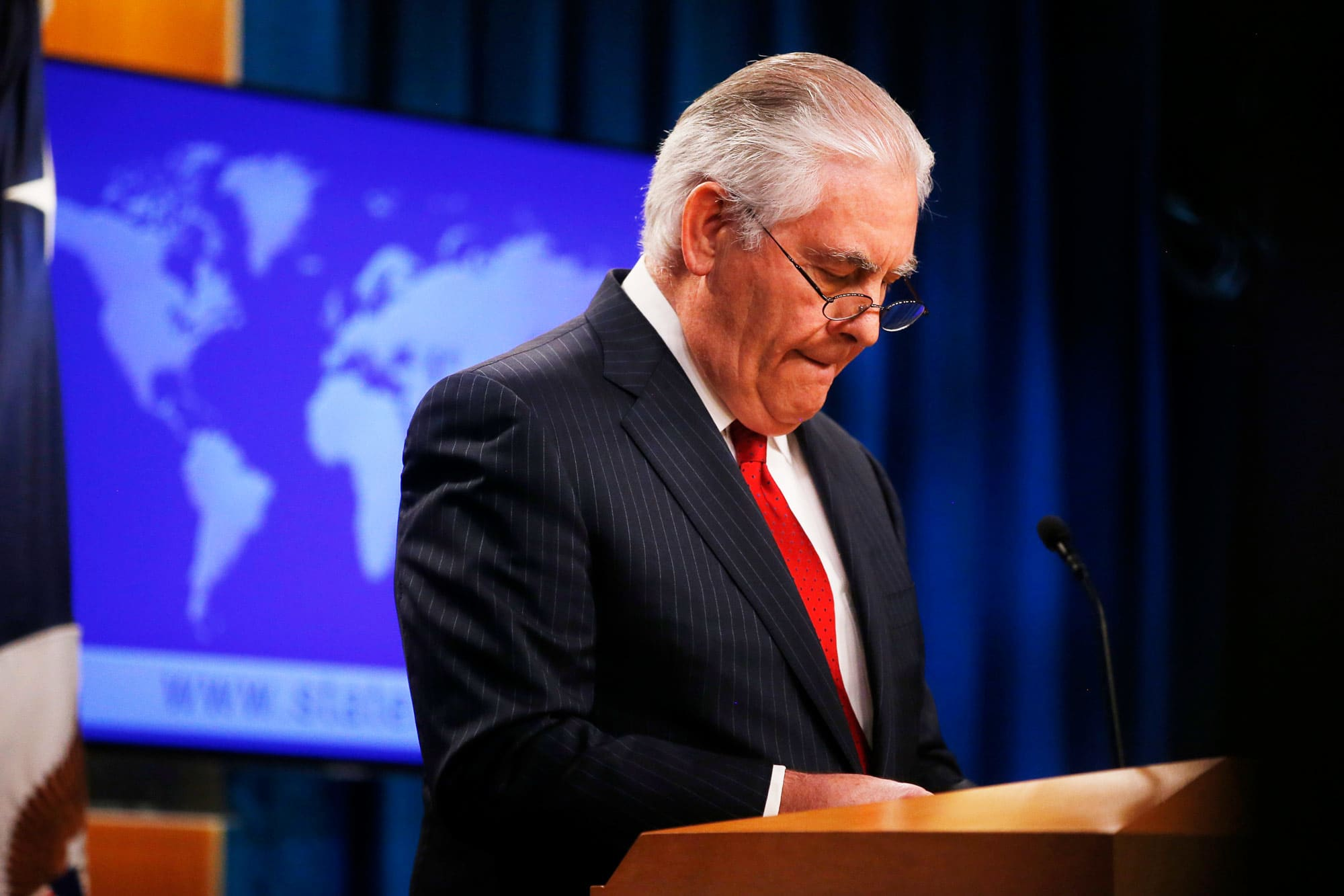 Tillerson will give up secretary of State duties at the end of the day