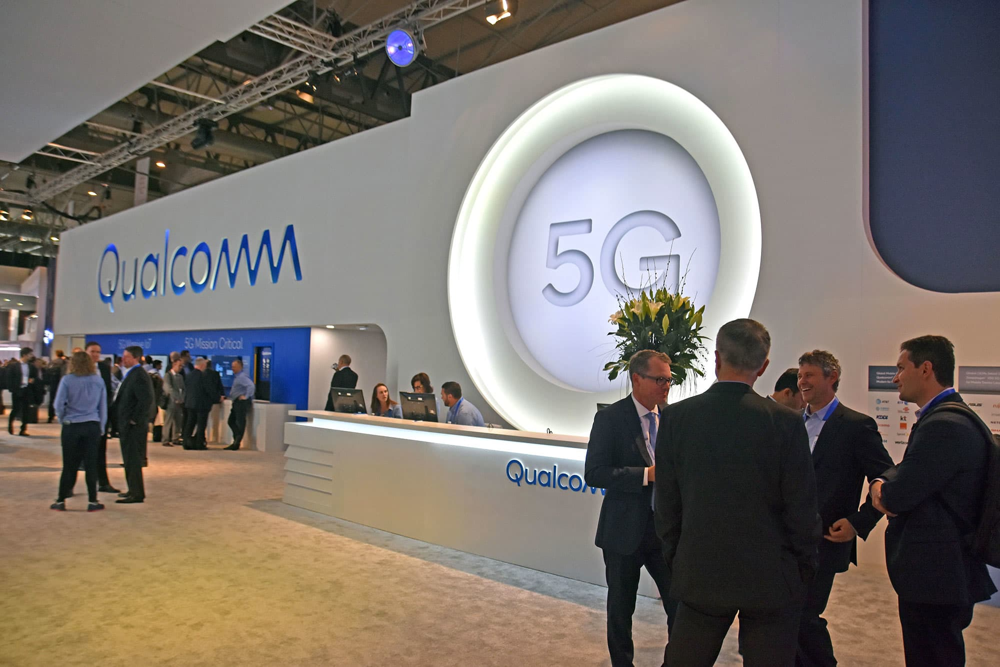 View of the phone company QUALCOMM technology 5G in the Mobile World Congress.