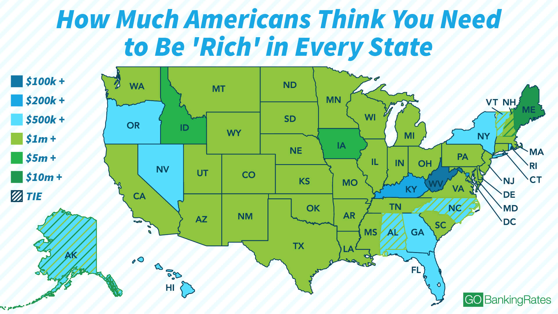 GOBankingRates: what americans need to be rich map