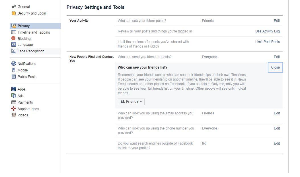 CNBC Tech: Facebook friends list