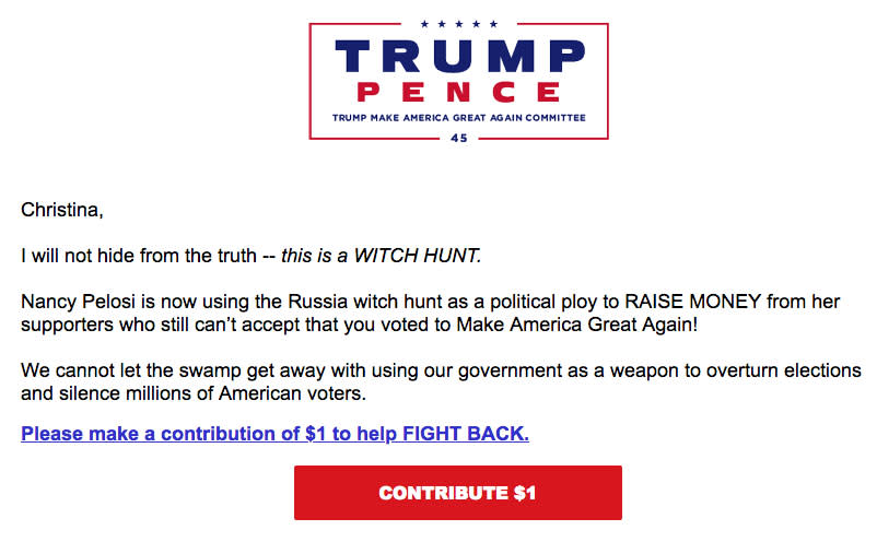Trump Pence Witch Hunt Fundraising email