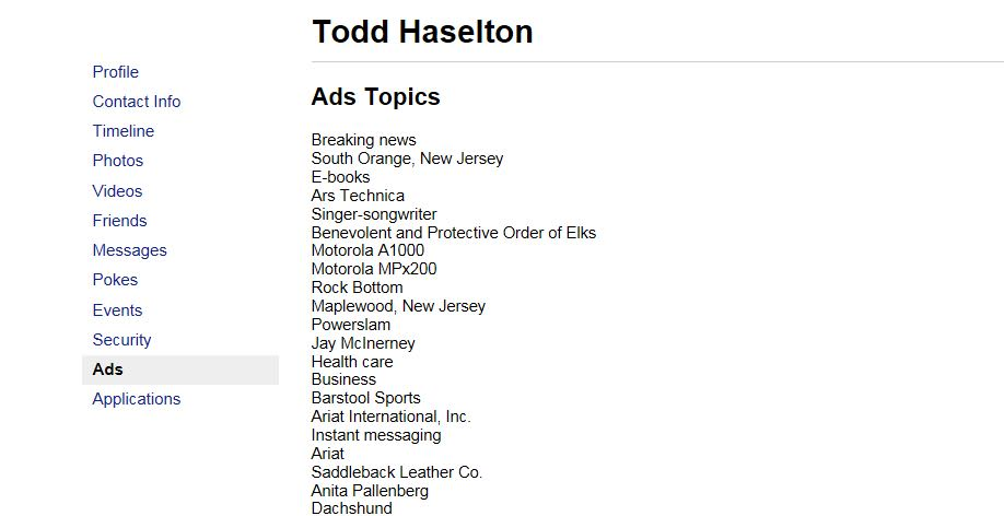 CNBC Tech: Facebook ad topics