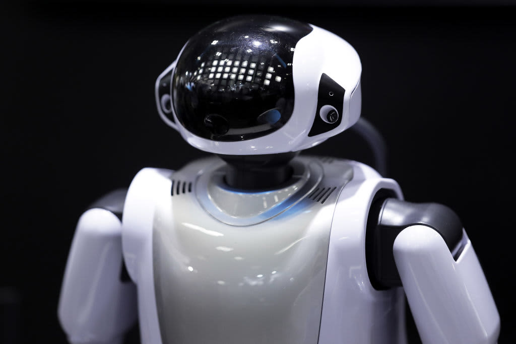 A Fujisoft Inc. Palro robot stands on display at the Artificial Intelligence Exhibition & Conference in Tokyo, Japan.
