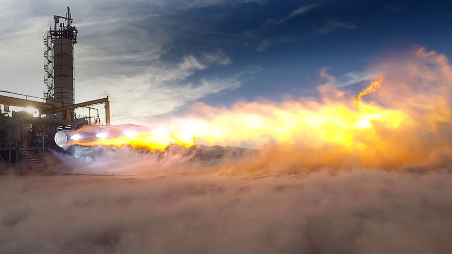BE-4 engine test at Blue Origin's West Texas launch facility.