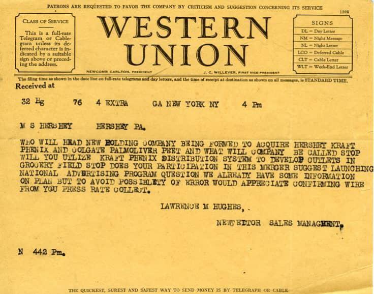ONE TIME USE: Hershey's telegram