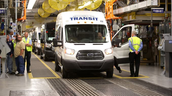 The first production Ford Transit commercial van waits on the assembly line to be unveiled at the Ford Kansas City Assembly Plant April 30, 2014, in Claycomo, Missouri.