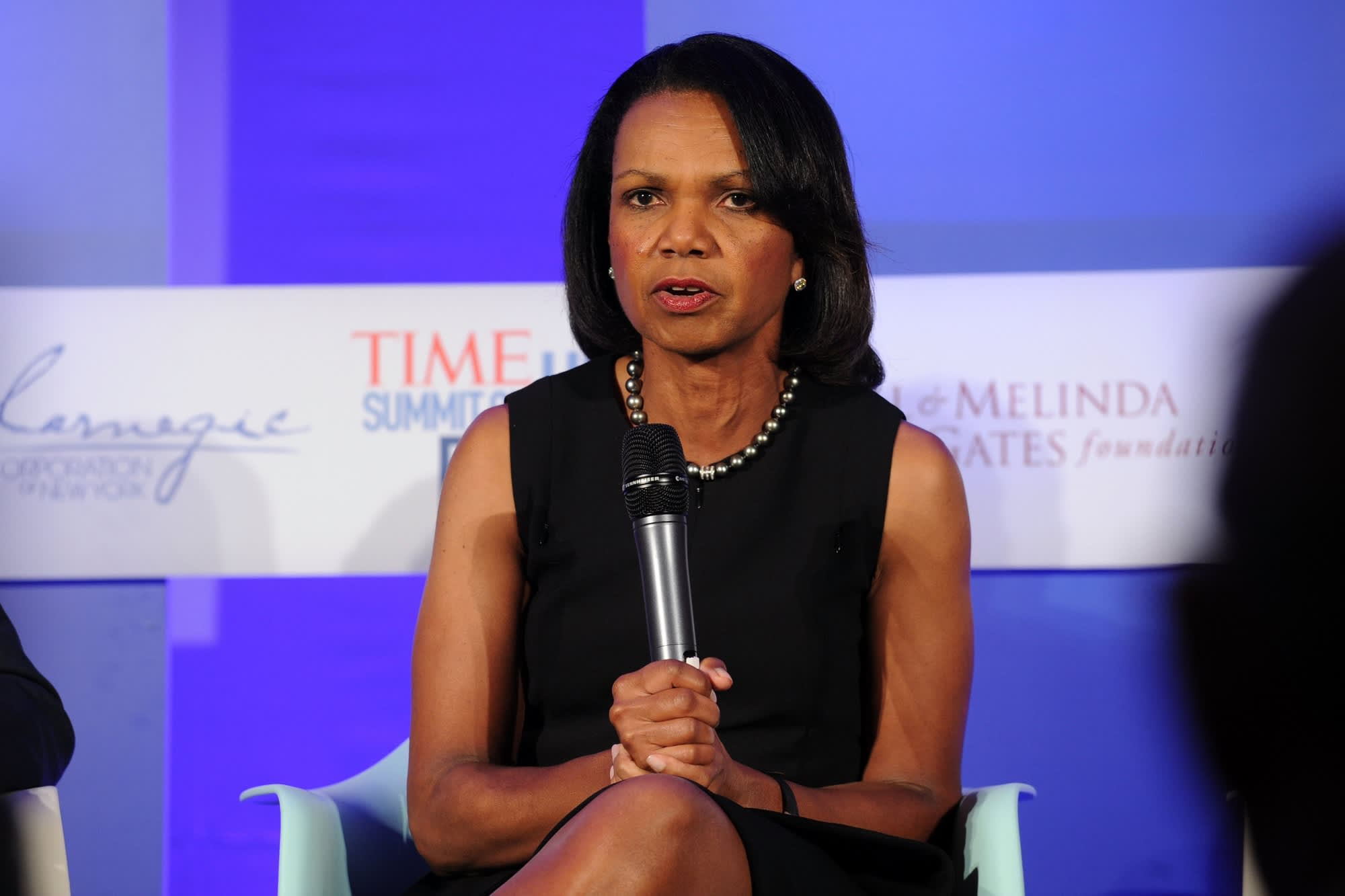 'The international system is somewhat dangerous and chaotic,' Condoleezza Rice warns
