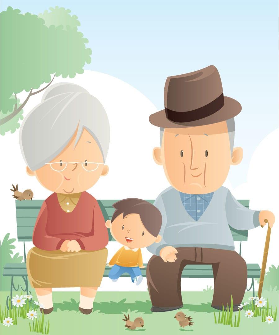 Premium: Grandparents and grandson illustration