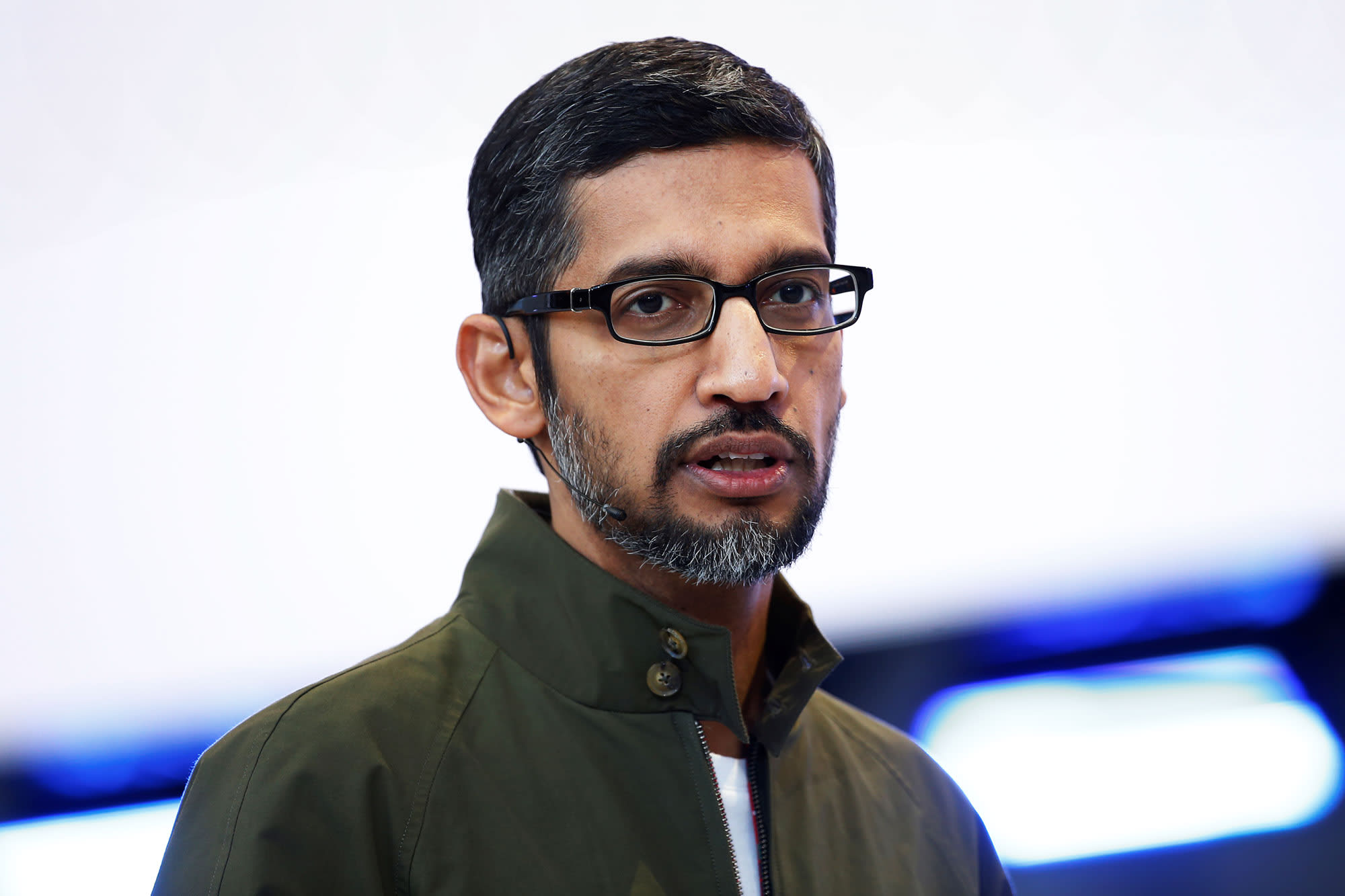 Google CEO Sundar Pichai speaks on stage during the annual Google I/O developers conference in Mountain View, California, May 8, 2018.