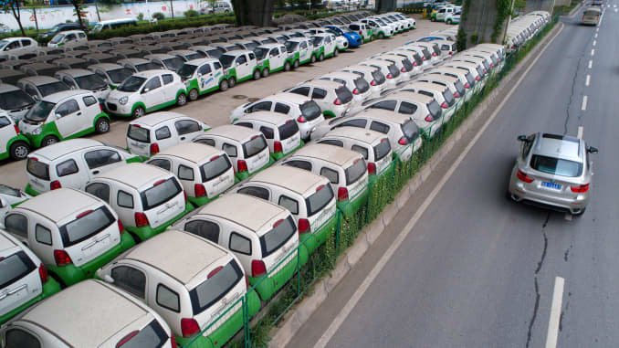 Premium: Electric cars parked in Wuhan, China 170523