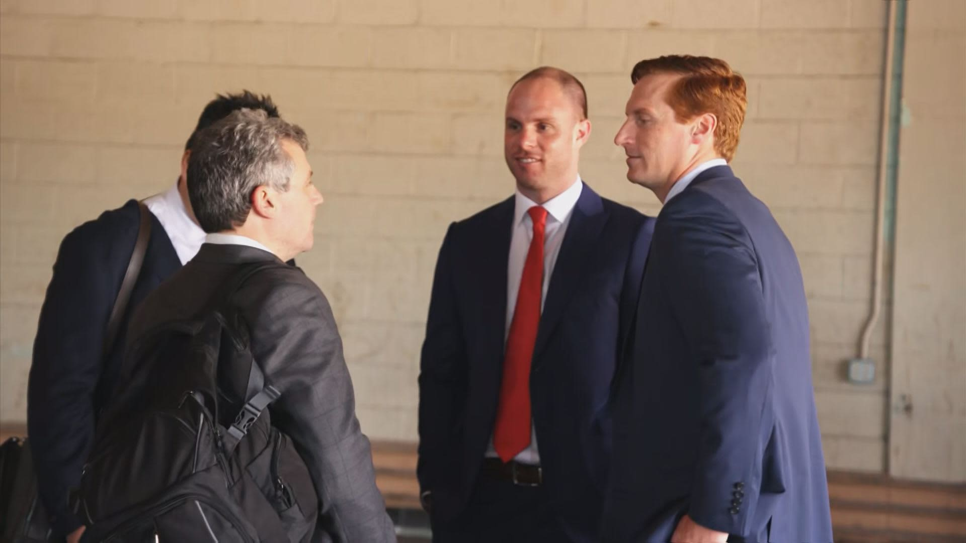 John O'Rourke (right) former CEO of Riot Blockchain after a shareholders meeting in Oklahoma City on May 9, 2018.