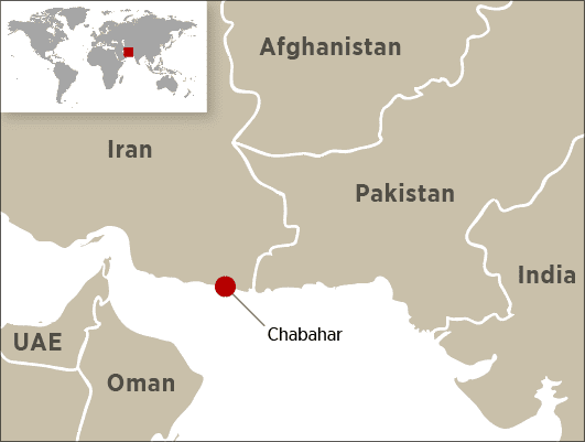 Chabahar map Iran India Afghanistan