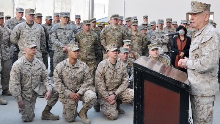 U.S. Marine Corps Gen. James Mattis, Commander, U.S. Central Command, talks to Marines on Dec. 25, 2011, in Kabul, Afghanistan.
